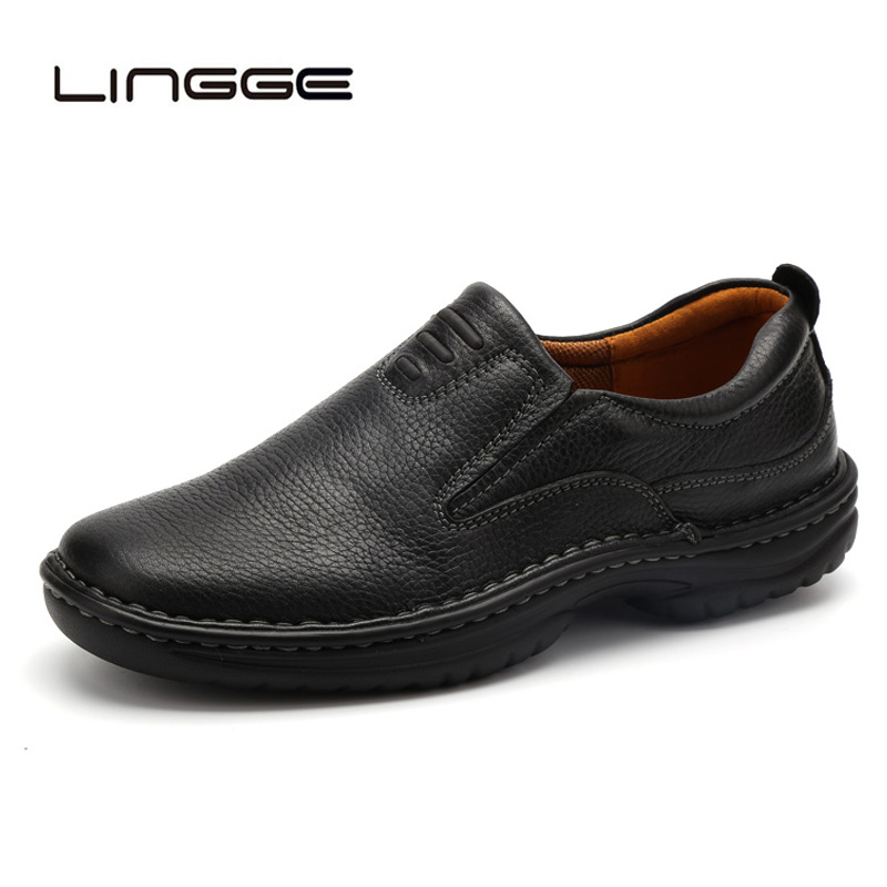 LINGGE New 2019 Men Casual Shoes Cow Leather Flats Loafers Brand Black Footwear Size 40-45