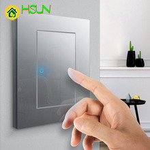 86 Type Ash Tempered glass Switch 1 2 3 4 gang way Lizard Point Comuter TV Telephone Socket Household Wall