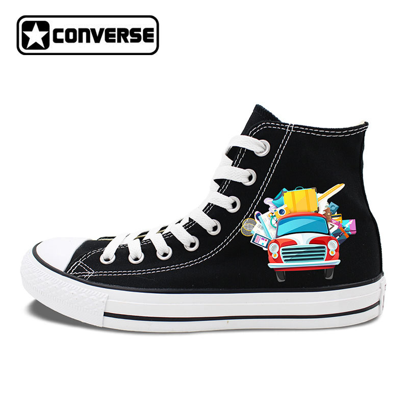 Design Travel Luggage Cars Happy Self-driving High Top Converse Sneakers Men Womens Canvas Shoes White Black Flats