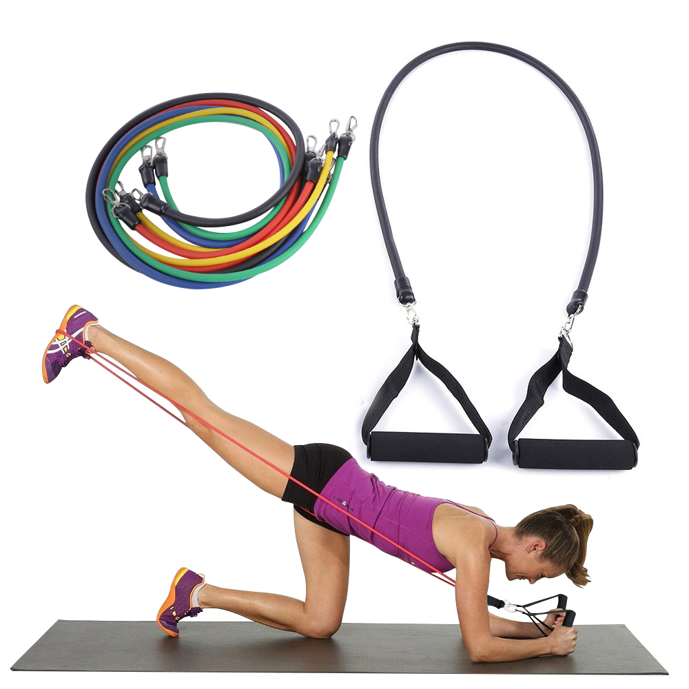 2018 11Pcs/Set Pilates Latex Tubing Expanders Exercise Tubes Practical Strength Resistance Band Sets Crossfit Fitness Equipment