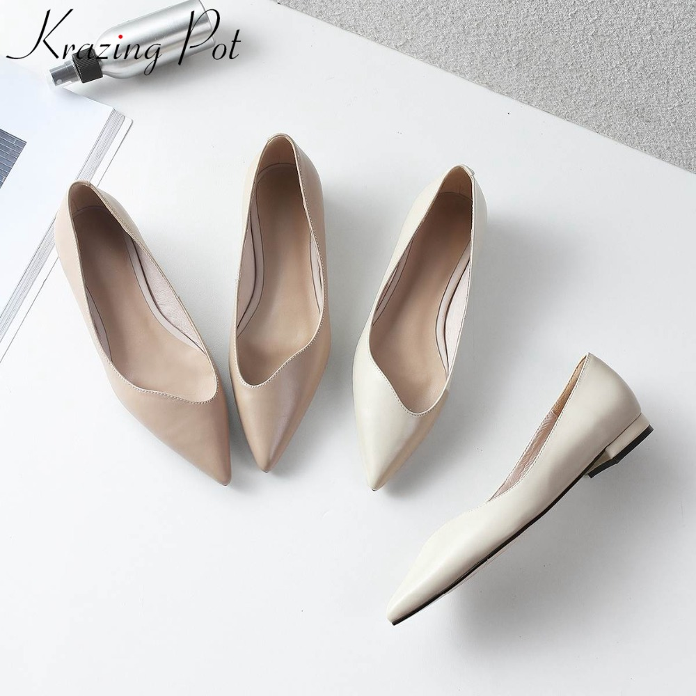 KRAZING POT genuine leather brand shoes thick heels women pumps pointed toe office lady concise Spring