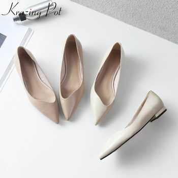 KRAZING POT genuine leather brand shoes thick heels women pumps pointed toe office lady concise Spring Autumn princess shoes L98 - DISCOUNT ITEM  51% OFF All Category