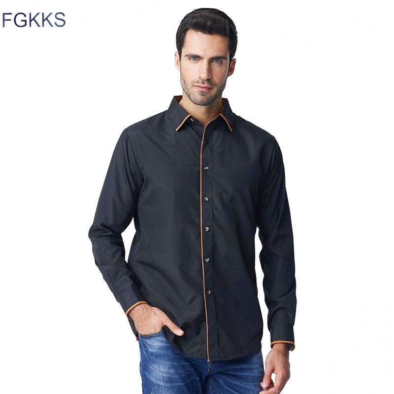 b54a8679f7 FGKKS Black Mens Dress Shirts 2018 New Fashion Long Sleeve Social Shirt  Office Work Shirts Mens Clothing-in Casual Shirts from Men s Clothing on ...