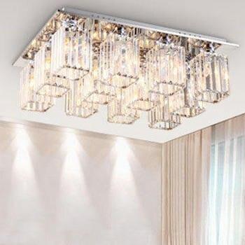 Modern simple living room ceiling lamp rectangular bedroom crystal ceiling lamp creative dining room lamp 3 aisle lamps
