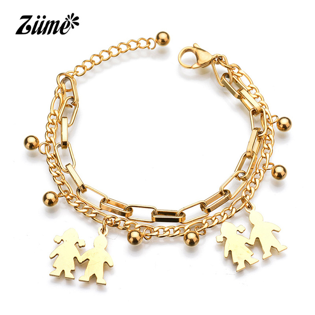 Ziime 2018 Family Bracelets For Mom And Sister Gold Silver Color Stainless Steel Layered Women