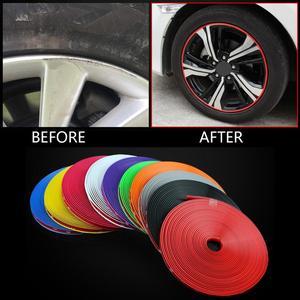 Цветные ободки для колес автомобиля, 8 м/рулон, протекторы для декора, полосы, защитная лента для шин, резиновая литьевая отделка