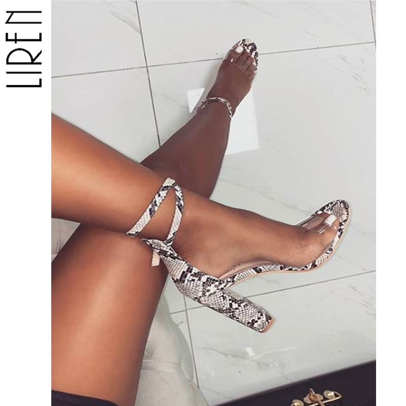Liren 2019 Summer Snake Stripe Roman Shoes Woman Transparent Square High Heels Sandals Buckle Sexy Party Size 35 40 in High Heels from Shoes