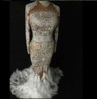Plume fuite cristaux Lumineux Femelle costumes sexy pierre robe DJ spectacle Chanteur De Danse Discothèque étoiles