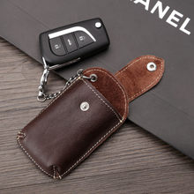 BYCOBECY Genuine Leather Car Key Wallets Men Key Holder Housekeeper Organizer Key Case Bag Pouch Purse Covers Hasp Key Case(China)