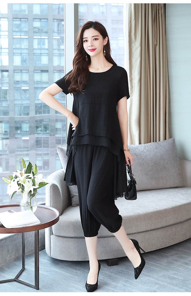 2019 Summer Linen Two Piece Sets Women Plus Size Short Sleeve Tops And Cropped Pants Suits Office Elegant Casual Women's Sets 59