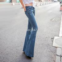 Women light blue vintage trumpet super flare jeans womens low rise stretch wide leg skinny jeans femme
