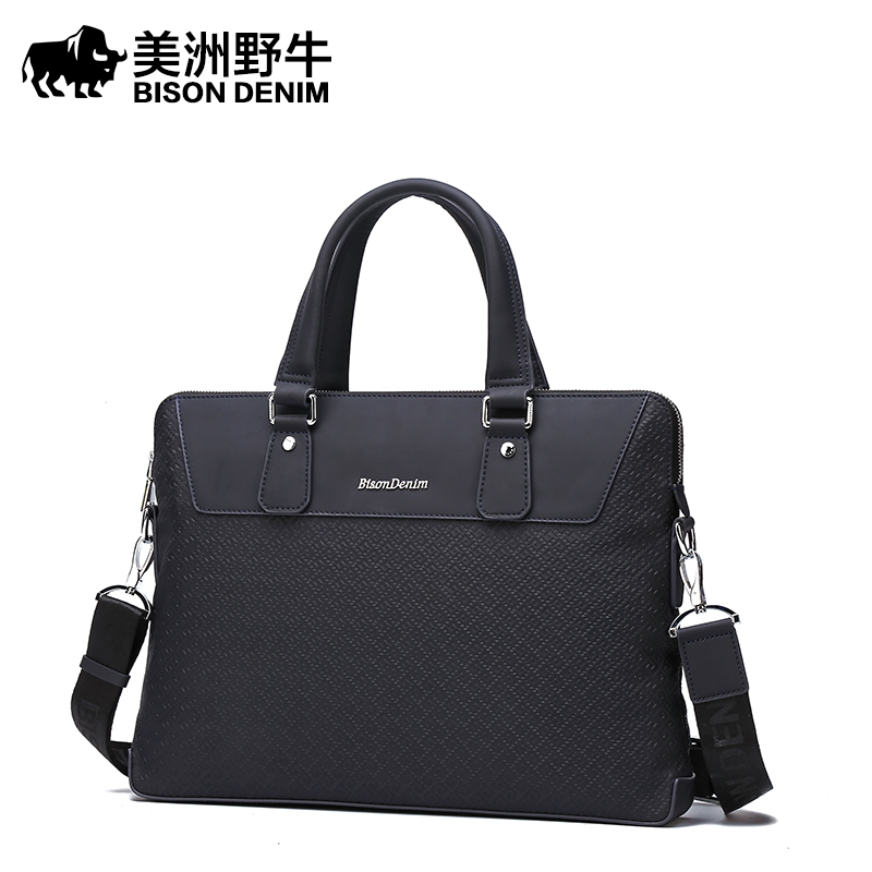 bbb3a3bea554 BISON DENIM Brand Handbag Men Shoulder Bags Leather Briefcases Tote Bag  Business Men s Messenger Bag Casual Travel Bag Free Ship
