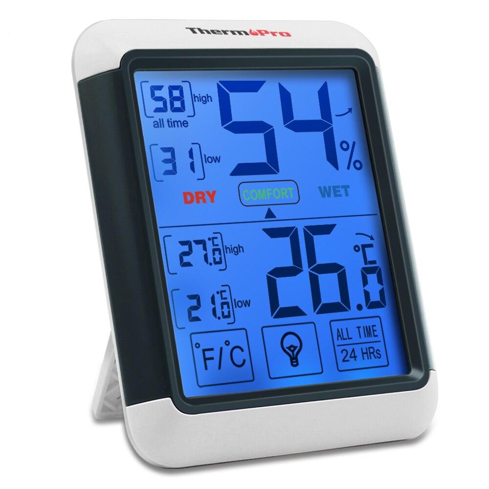 Thermopro TP55 Igrometro Termometro Digitale Termometro Esterno Dell'interno con Touchscreen e la Retroilluminazione di Umidità di Temperatura