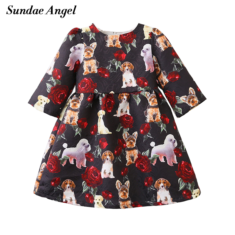 Sundae Angel Girls dress 2018 Dog Pattern Short Sleeve Dress with print animal girls Summer&Autumn Princess Dresses Kids Clothes цены онлайн