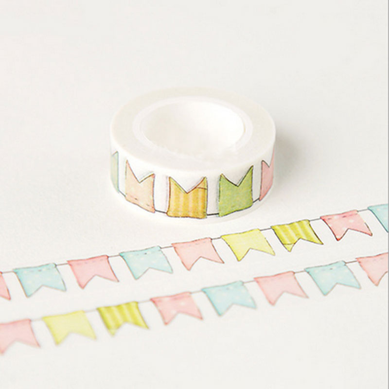 15mmX10m kawaii Small tooth flag washi tape DIY decoration scrapbooking planner masking tape adhesive tape label school supplies