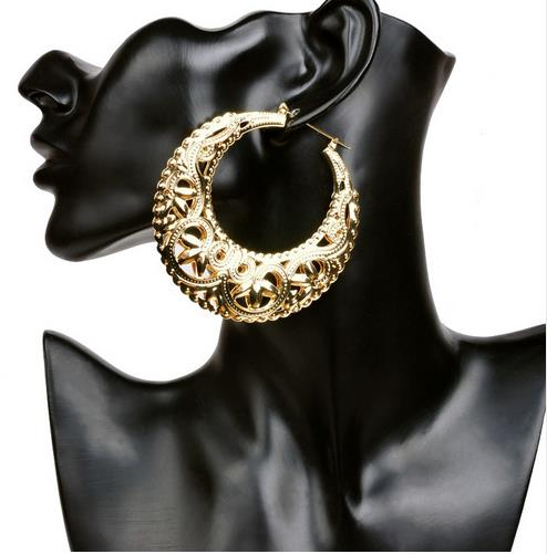 2017 femal basketball wives earrings hoop Hip-hop gold earrings plate fashion girl jewelry ER007