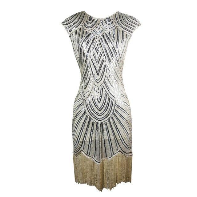 Luxus Frau pailletten Kleid Bodycon Quaste Vintage 1920 s Partei ...