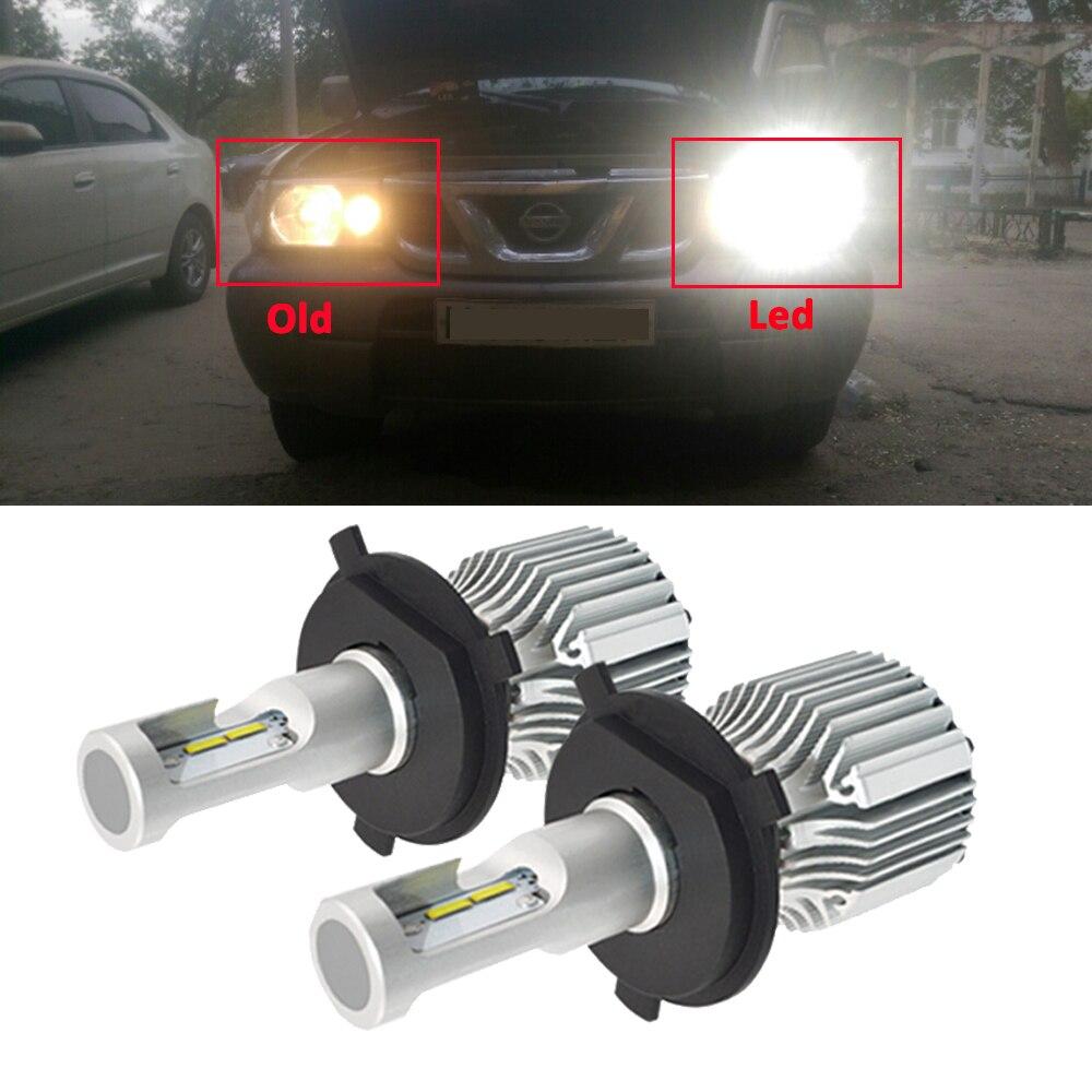 все цены на 1 Pair Car Headlights Kit H1 H3 H4 H7 9012 880 881 Auto Front LED Bulb 72W 8000lm Fog Headlamp 6000K Car Light Souring Parking онлайн