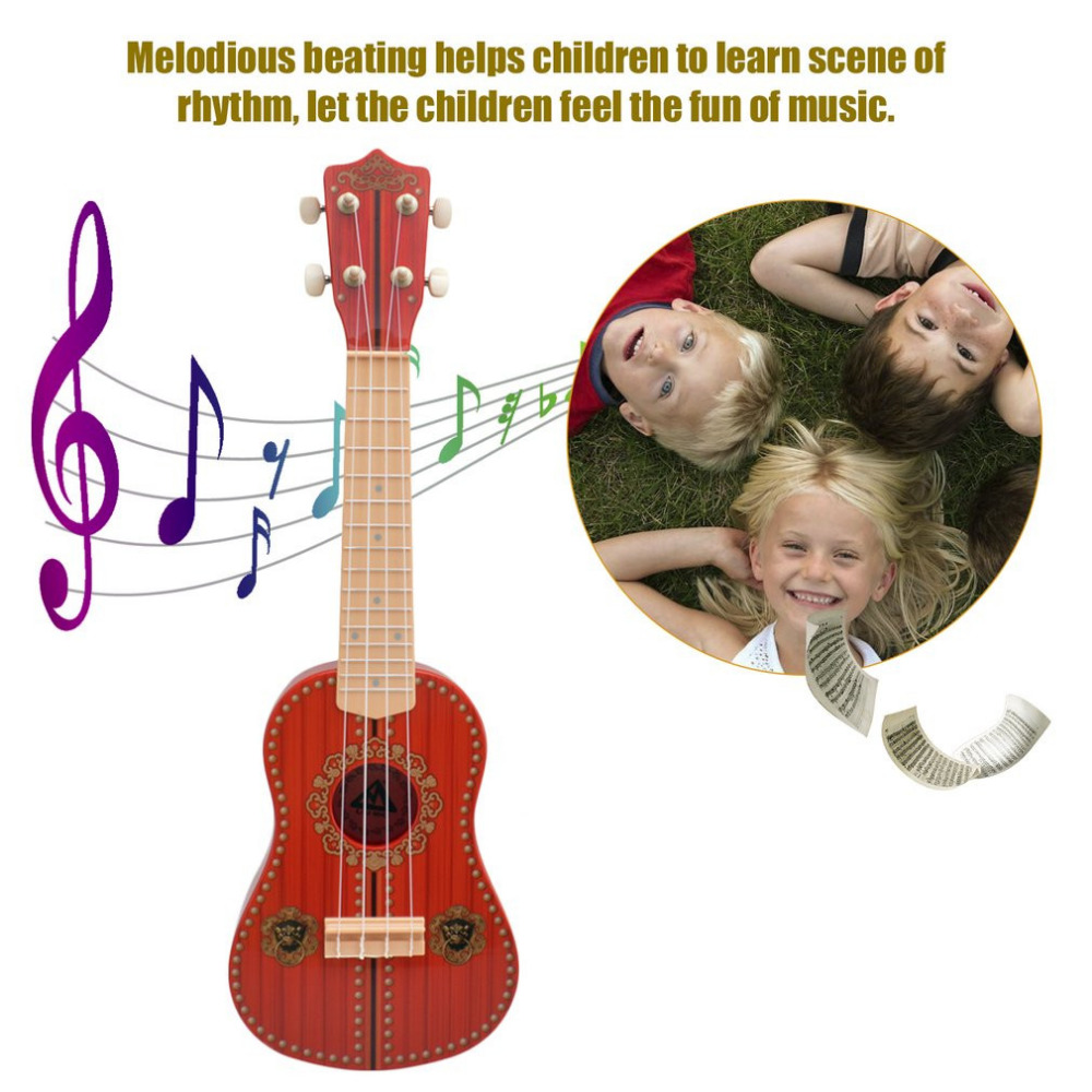 Children Ukulele TSAI 21-Inch 4-String Imitated Guitar Toys Educational Musical Instrument For Beginner Intelligence Development