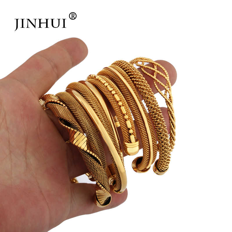 Jin Hui 1pieces Gold color Copper bangles for Women Dubai Bride Wedding Jewelry Bracelet Ramadan Middle East African