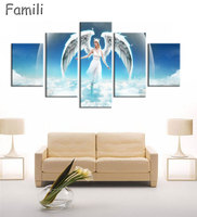 5Pieces Large HD Printed Oil Painting Angel Girl Canvas Print Art Home Decor Idea Wall Art