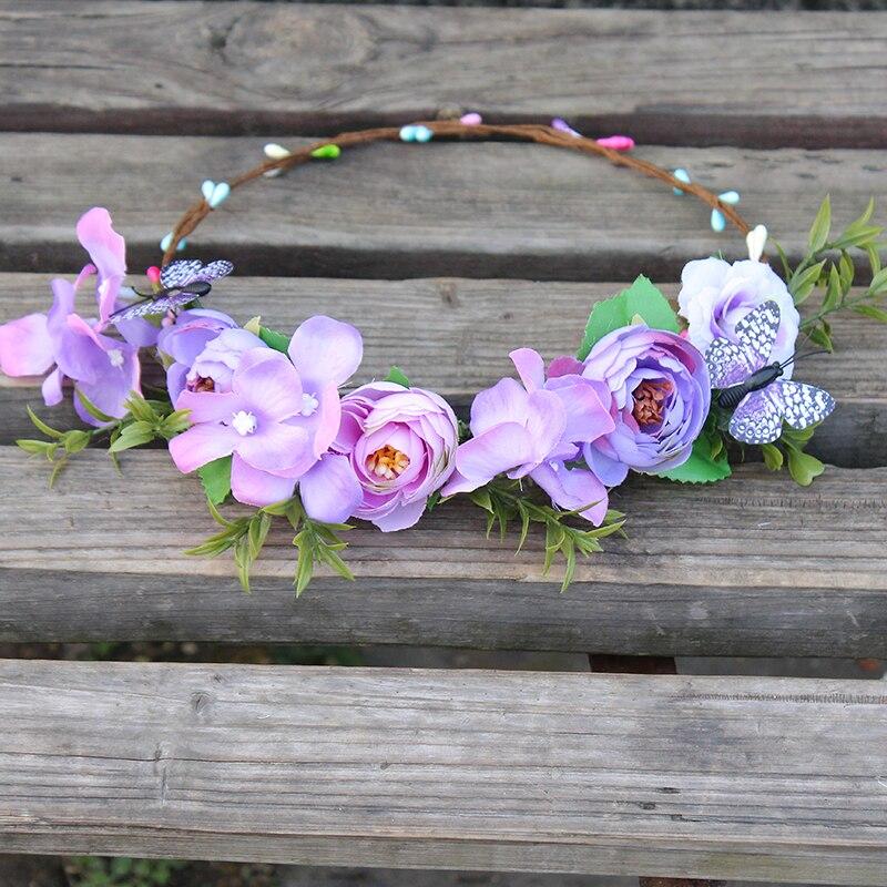 Purple Floral Meadow Crown Diadema Novia boda corona de flores dama - Accesorios para la ropa - foto 4