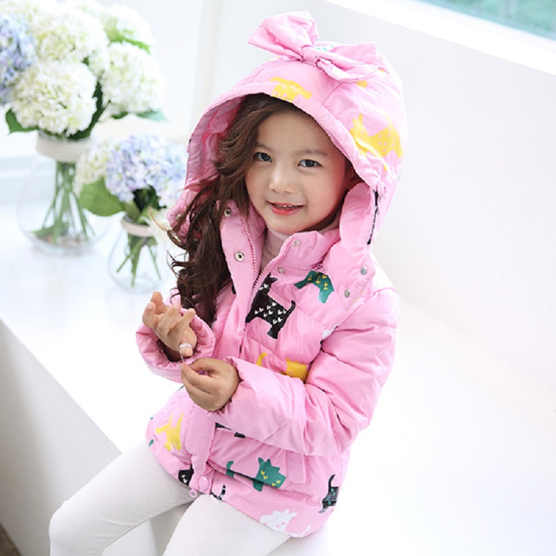 Kids Girl Winter Outerwear Girl Casual Zipper Cartoon Bow Hooded Cotton-Padded Girl Jacket 3 5 7 9 11 year Children's Clothing bow back hooded jacket