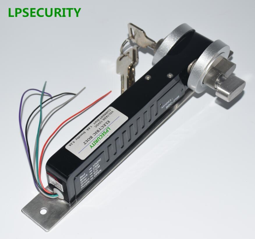 LPSECURITY Fail Secure 24VDC/12VDC 5 Line Electric Drop Bolt Lock Manual Keys For Access Control System Electric Deadbolt