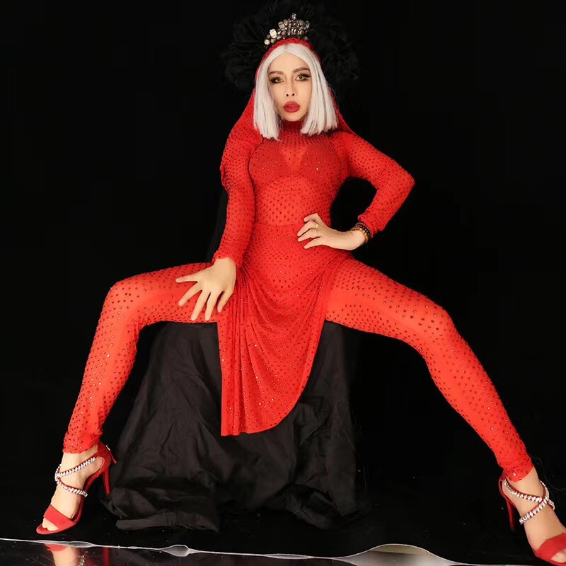 Sparkly Red Crystals Jumpsuit Costume Women's Sexy Stretch Bodysuit Party Show Nightclub Bar Female Singer Stage Dance Wear