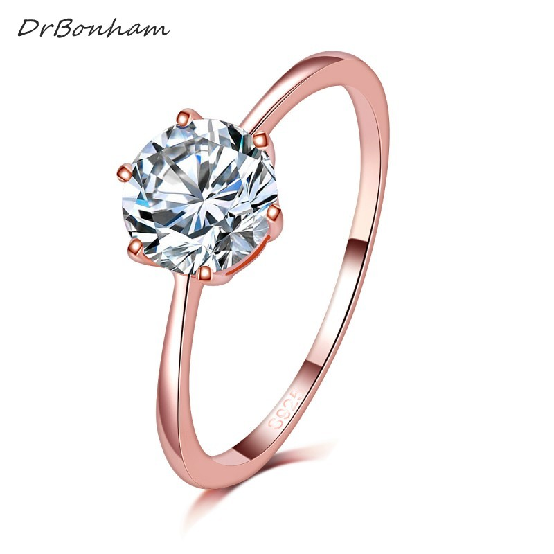 High Quality Elegant 1.2ct Rose Gold Color Large CZ Zircon Stone Rings  6 Prong  Bridal Wedding Ring Women Wholesale DR1734
