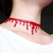 Halloween Horror Charm Irregular Fake Blood Drip Choker Vampire Fancy Joker Choker Chain Punk Necklace Jewelry Party Accessories pu leather velvet blood halloween choker page 2
