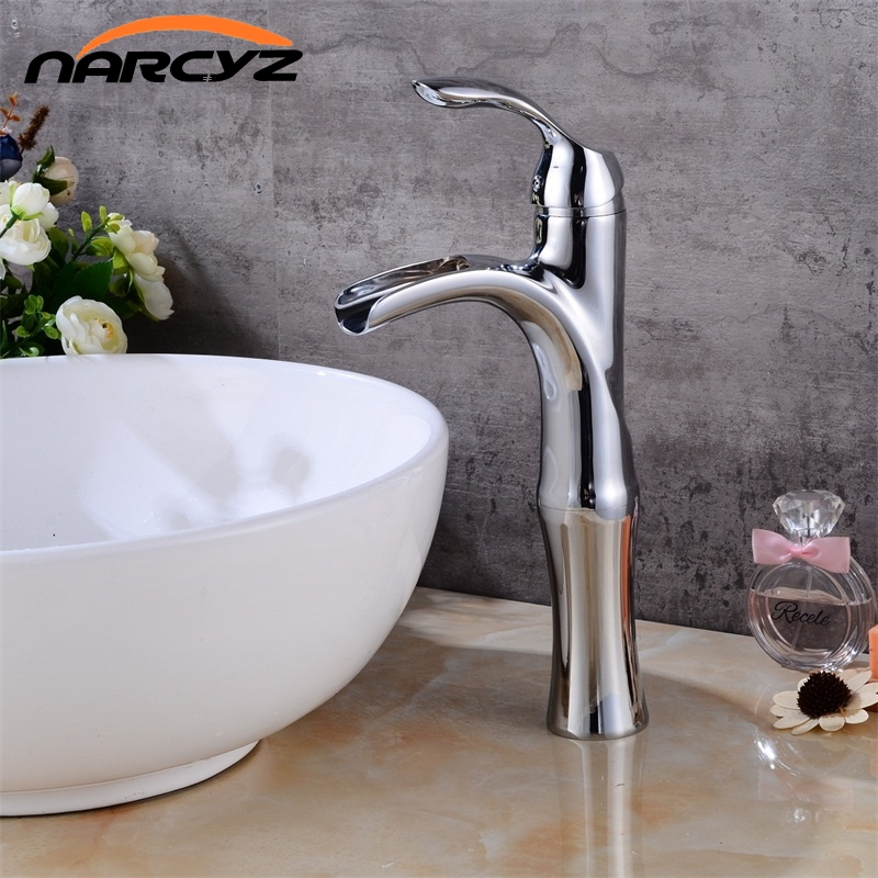 Free Shipping Waterfall Chrome brushed bathroom faucet High Chrome basin mixer brushed waterfall basin faucet sink