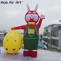 outdoor 4m H giant Easter combination decoration ,inflatable red bunny in Green with a yellow egg