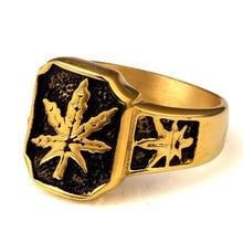 Stainless Steel Cannabina wood Leaf Hip Hop Rings Men's Hipster Hemp leaf Joyas Nightclub Punk Tide Brand Finger Rings Jewelry