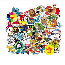 Hot 50PCS Mix Stickers for Laptop Skateboard Luggage Car Styling Bike JDM Doodle Decals Cool Waterproof Sticker as Picture 300 pcs mix funny stickers for laptop skateboard luggage car styling bike jdm doodle decals home decor cool waterproof sticker