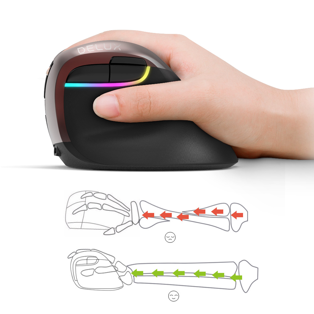 Image 5 - Delux M618 Mini Ergonomic Mouse Wireless Vertical Mouse Bluetooth Black 2.4GHz RGB Rechargeable Silent click Mice for Office-in Mice from Computer & Office
