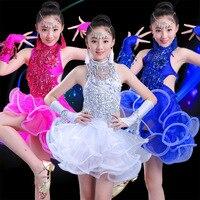 Sequin Fringe White Blue Rose Red Salsa Dress Child Girls Kids Latin Dresses Costumes Stage Dance