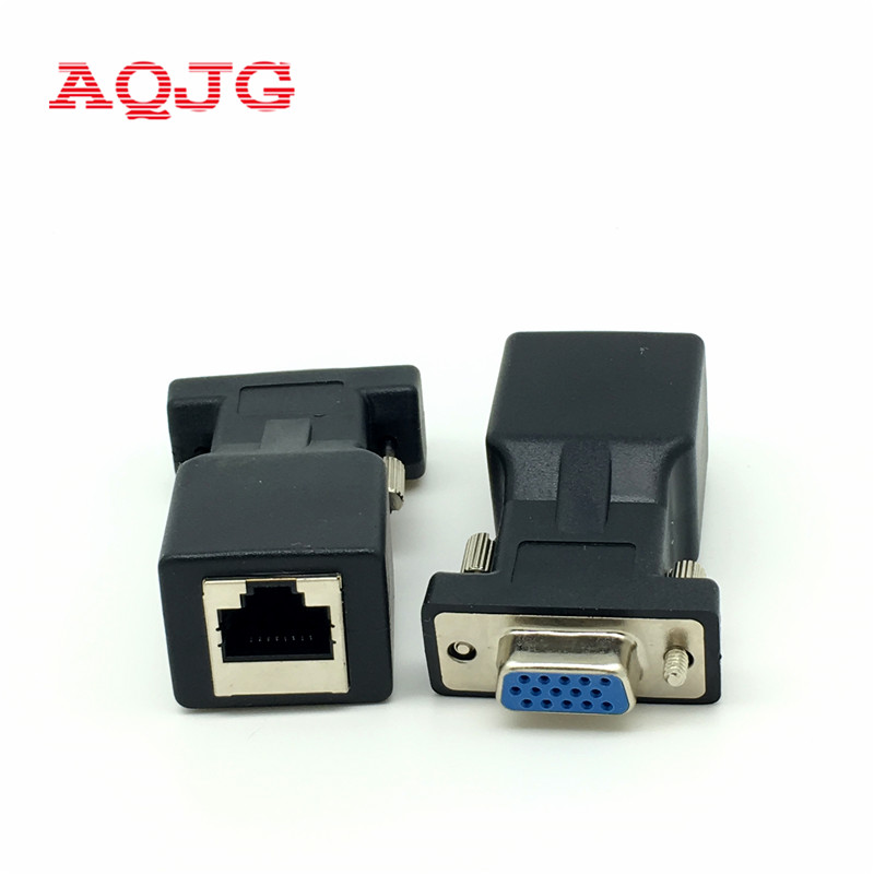DB15 VGA Video Female to RJ45 CAT5 CAT6 Female Connector Card VGA RGB HDB Extender to LAN RJ45 Network Ethernet Cable Adapter