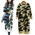 Long Sleeve Sweater Women 2016 Autumn Winter Fashion New Camouflage Long Knitted Female Pullovers Women's Knitted Long Dress