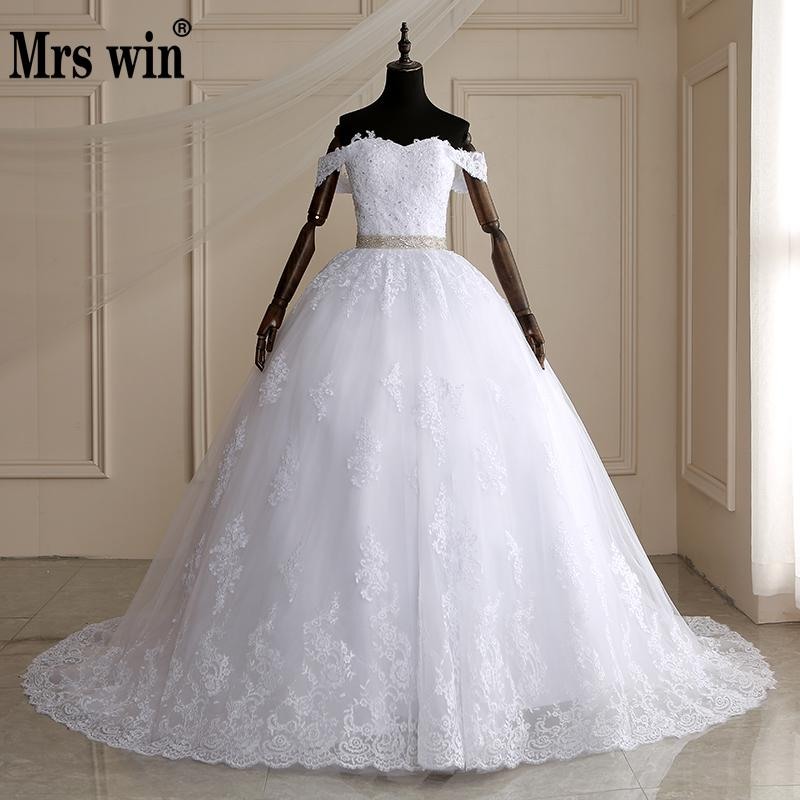 Mrs Win Long Train Ball Gown Belted Wedding Dresses 2019 Bridal Dress Off Shoulder Vestidos De