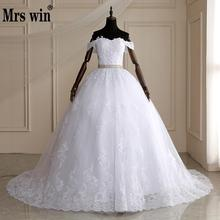 Mrs Win Long Train Ball Gown Belted Wedding Dresses 2020 Bridal Dress Off Shoulder Vestidos De Novia Robe De Mariee