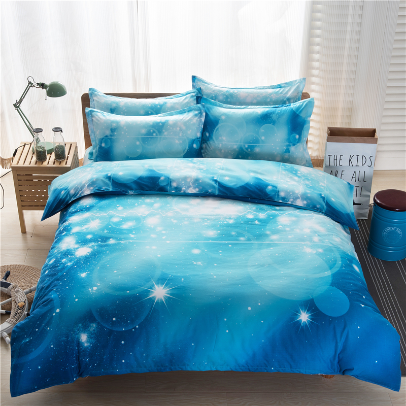 2017 Bedding Galaxy 3d Bedding Sets 4 3pcs Blue Bright
