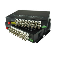 16 CH Video Fiber Optical Media Converters 16 BNC Transmitter Receiver Single mode 20Km For CCTV Surveillance system
