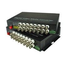 16 CH Vidéo Fiber Optique Convertisseurs de Média-16 BNC Émetteur Récepteur Unique mode 20Km Pour CCTV système de Surveillance