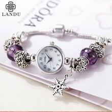 LANDU top brand PONDORA серии luxury женщины кварцевые часы из нержавеющей стали дамы браслет мода женщины смотреть