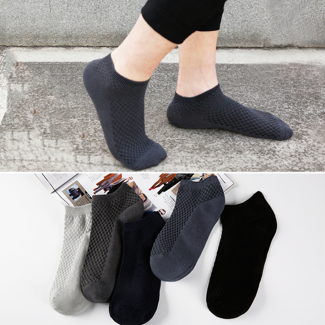 Lot Fashion Casua business Men's Bamboo Fiber & Cotton Socks Invisible Ankle Socks Men Breathable Thin Boat Socks 1pair 5pairs