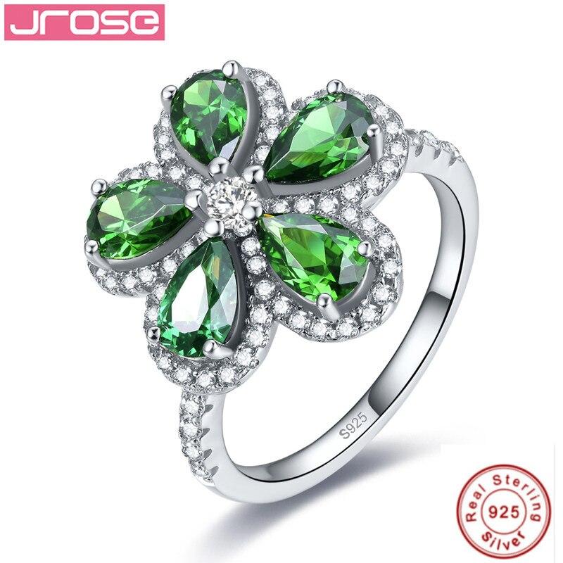 Jrose bijoux haut de gamme de luxe, 100%, 925 standard argent anniversaire classique fleur bijoux bague de fiançailles de mariage pour les femmes