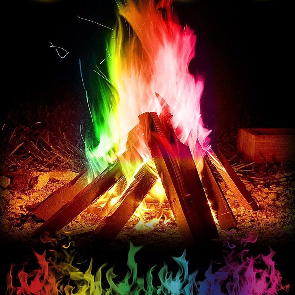 Coloured Flames Mystical Fire Magic Tricks Bonfire Sachets Fireplace Pit Patio Artificial Flame Magicians Pyrotechnics Party Toy bison rolling grill
