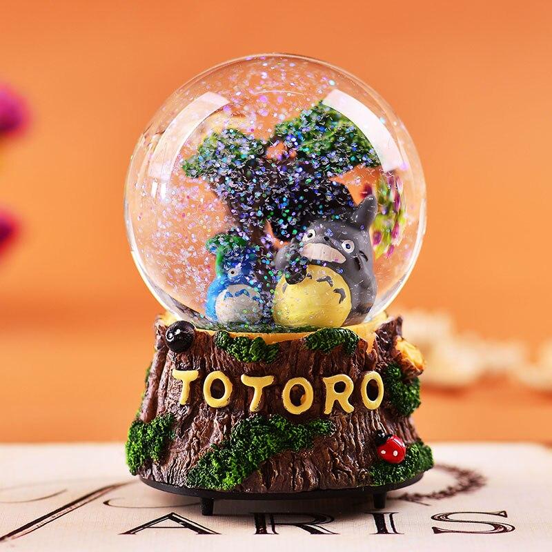 Japonais Miyazaki Totoro boîte à musique boule de cristal tournant ou clignotant lumières Livraison Gratuite