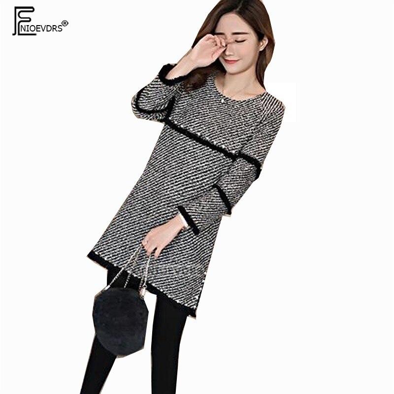 Autumn Winter Basic Mini Dresses Women Fashion Temperament Cute Office Lady  Tunic Design Beading Printed Woollen Dress 9019 009466cd74b5